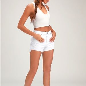 Pistola Denim Kylee White High Rise Cutoff Shorts
